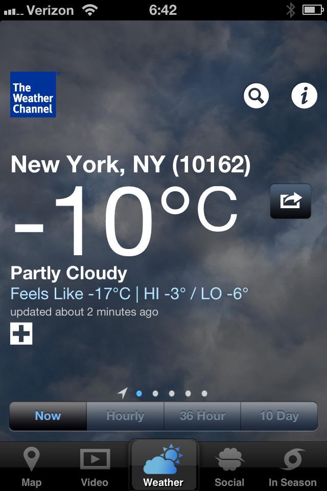 Temperatura em NY .....