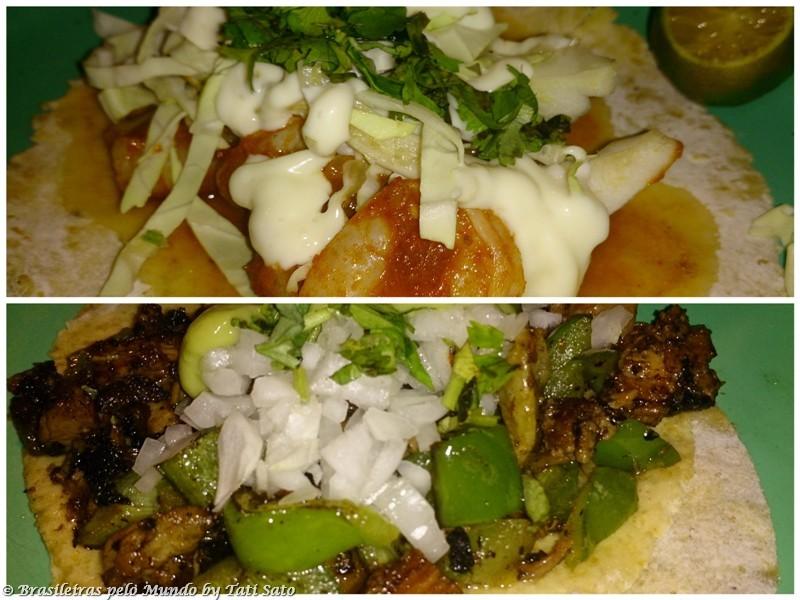 El Chupacabra: tacos moles, o de gambas a la diabla, acima, e o de pollo asado, abaixo.
