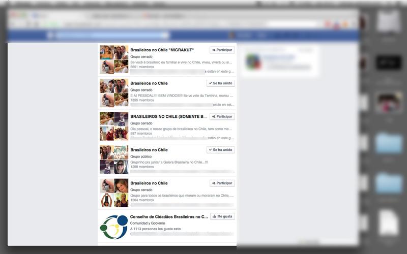As diversas comunidades de brasileiros morando no Chile numa rápida pesquisa no Facebook