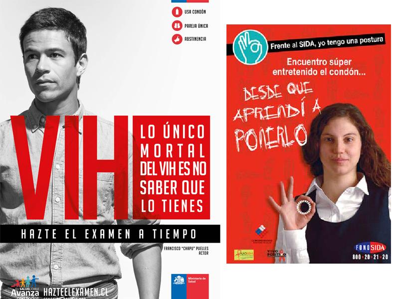 Campanhas de educação sexual: 2013 - incentivando a fazer o teste do vírus HIV e 2005 - incentivando o uso de preservativo