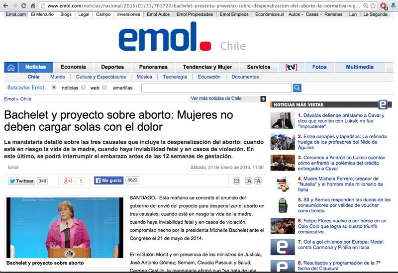 Bachelet e seu apoio ao projeto sobre aborto terapêutico