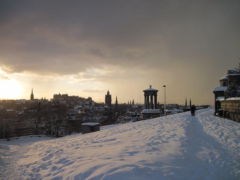 Calton Hill na neve do inverno de 2010