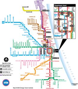 Linhas de metrô em Chicago (Fonte: CTA Chicago)