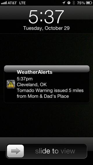 Modelo de aplicativo usado para se manter informado sobre a chegada de tornados na sua região (Fonte: Apple Store)