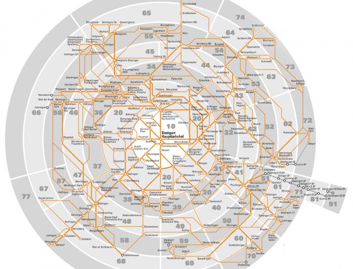 VVS - Mapa de zonas tarifárias do transporte de Stuttgart