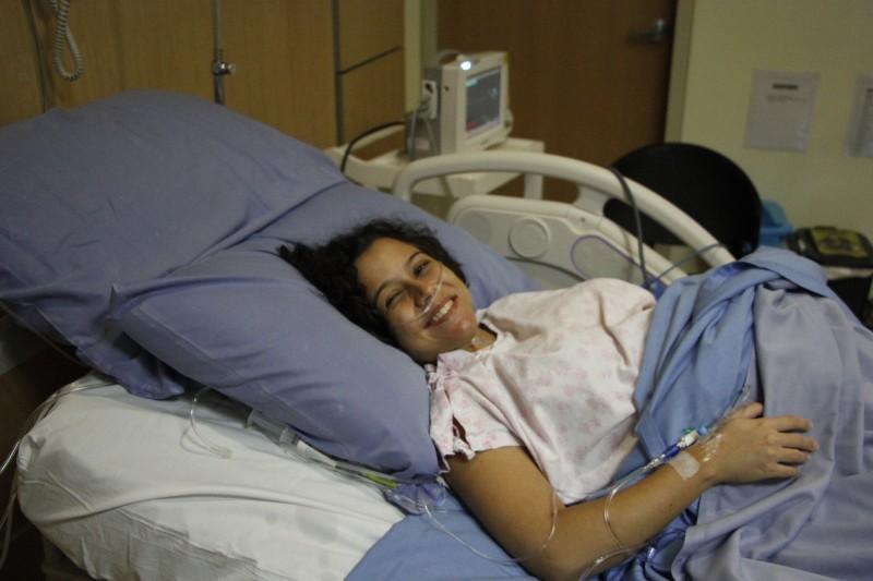 """Na sala de parto, esperando o momento do """"push""""."""
