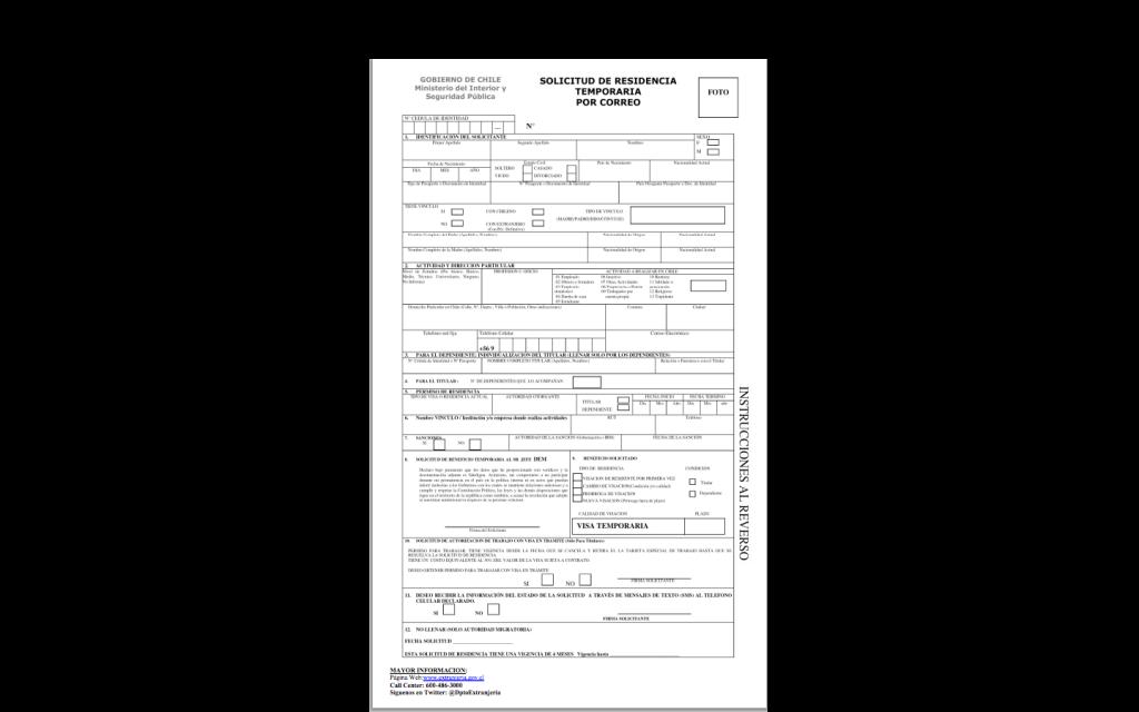 Formulário de pedido de visto temporário