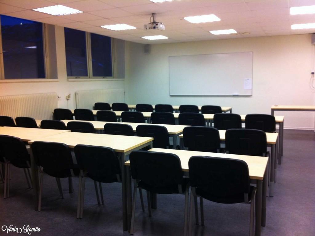 Sala de aula na Folkuniversitetet em Gotemburgo