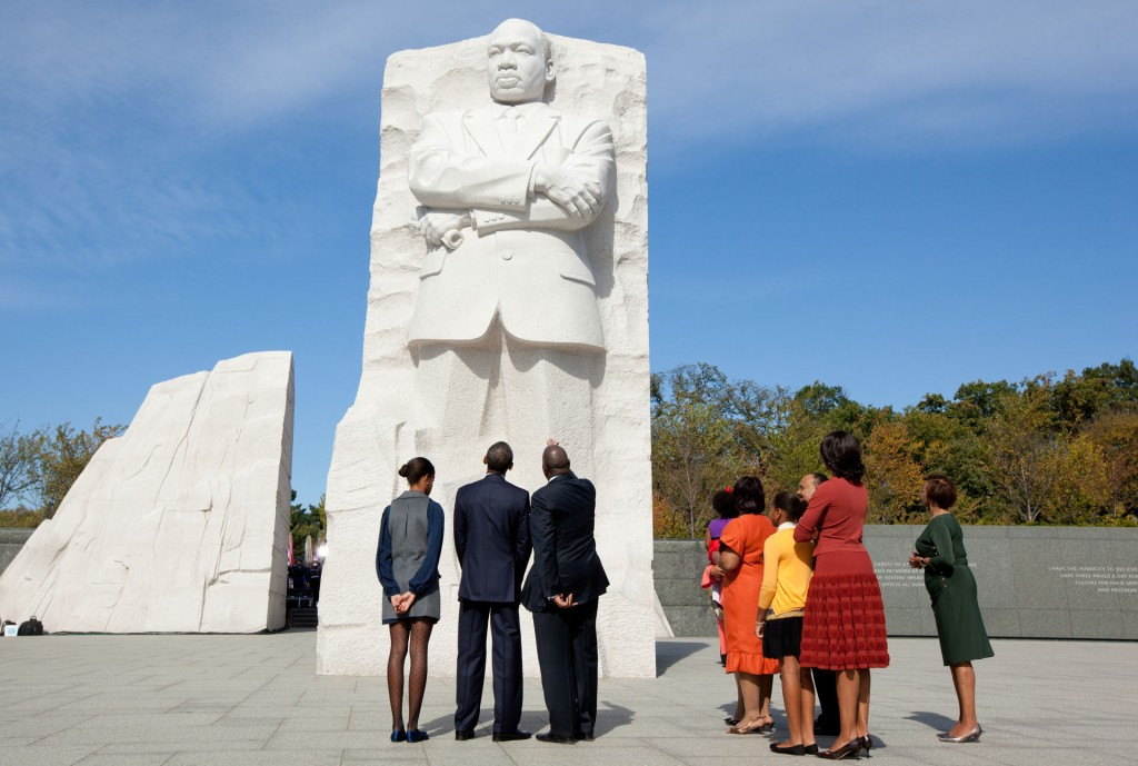 President Barack Obama, First Lady Michelle Obama, daughters Sasha and Malia, and Marian Robinson tour the Martin Luther King Jr. National Memorial before the dedication ceremony in Washington, D.C., Sunday, Oct. 16, 2011. (Official White House Photo by Chuck Kennedy)