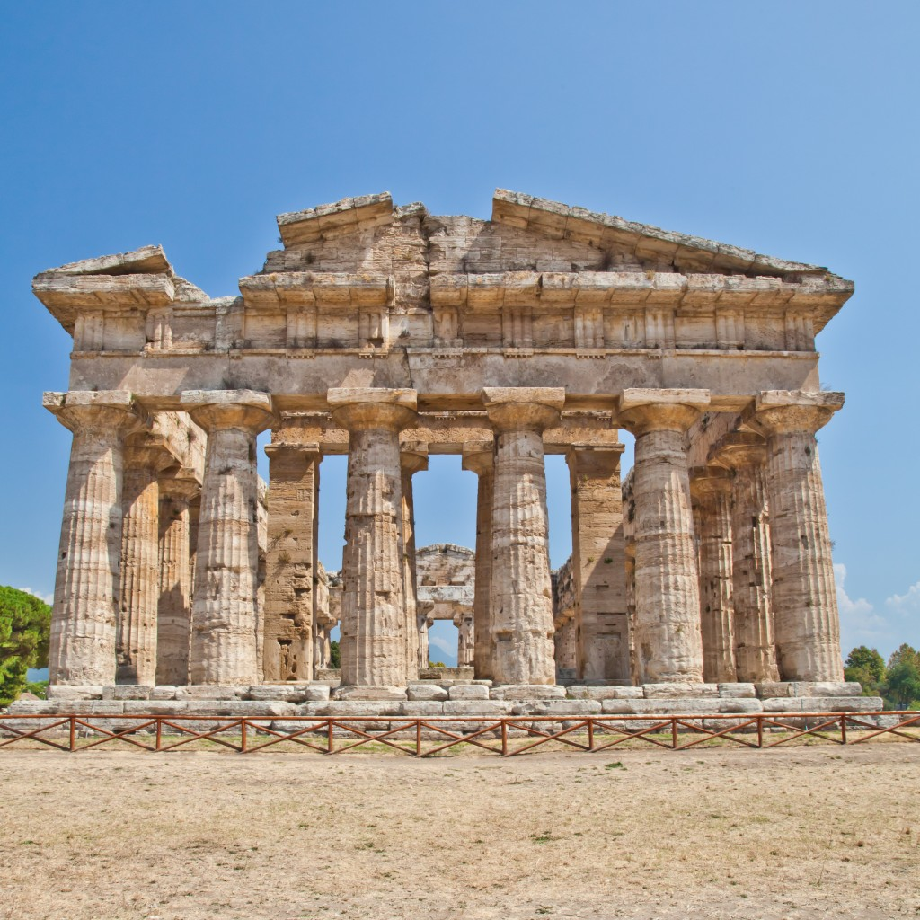 The main features of the site today are the standing remains of three major temples in Doric style, dating from the first half of the 6th century BC