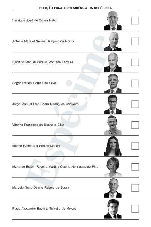 Boletim de Voto disponível no site www.portaldoeleitor.pt