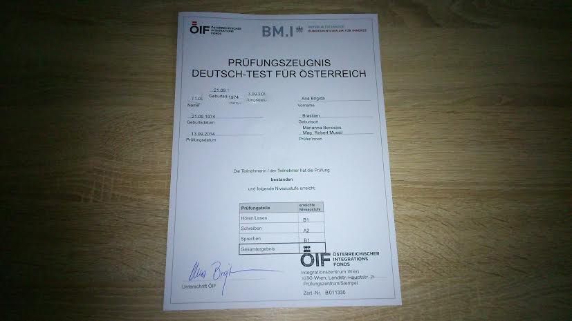 Certificado governamental de aprovação no exame de alemão