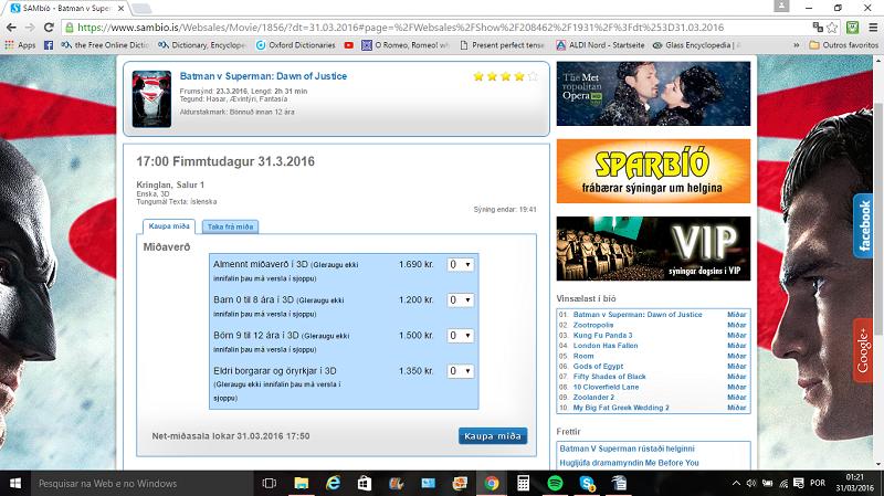 """Comprando ingressos para """"Superman x Batman"""", em 3D é mais caro."""