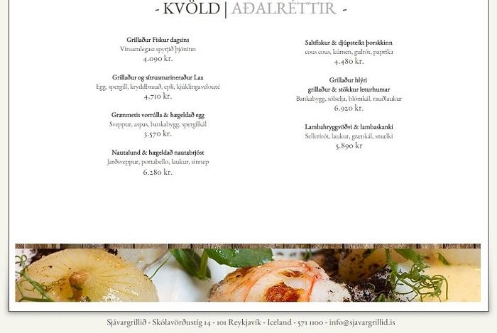 Cardápio de um bom restaurante de Reykjavik, pratos principais.