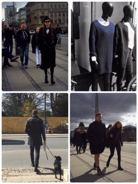 Uma pequena amostra da explosão de cores da moda dinamarquesa....ou não. Percebam que até o cachorro é preto, para combinar. Fonte: Arquivo pessoal da autora