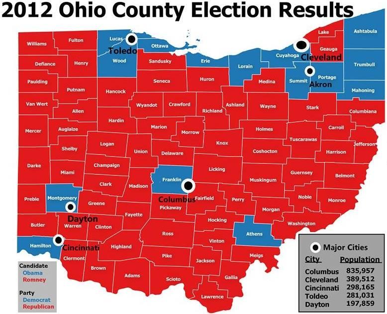 Mapa de Ohio mostrando distritos que votaram nos Democratas (azul) e Republicanos (vermelho). Fonte: http://boundlessgeo.com/2015/12/mapping-our-way-to-the-next-president/