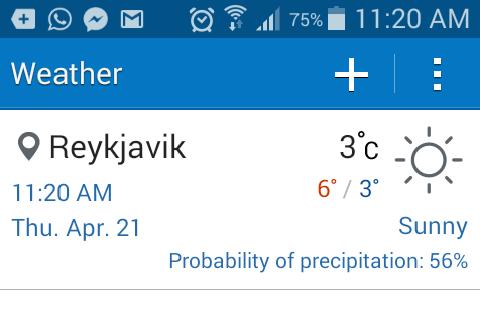A temperatura máxima no primeiro dia de verão deste ano fio 6°C.