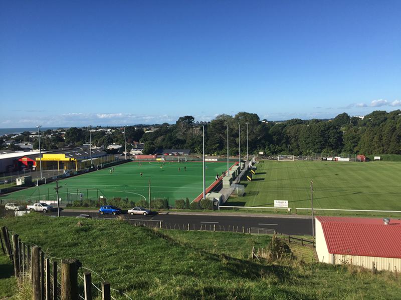Parte do espaço para esportes em uma escola da NZ