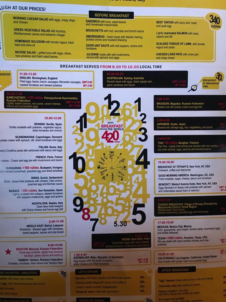 O cardápio em forma de relógio e suas promoções