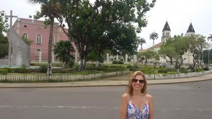 Palácio do Governo (rosa) e Catedral da Sé de São Tomé e Príncipe(acervo pessoal)