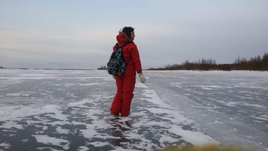 Num lago congelado em Oulu
