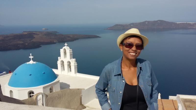 Santorini - igreja com cúpula azul ao fundo. Foto: arquivo pessoal