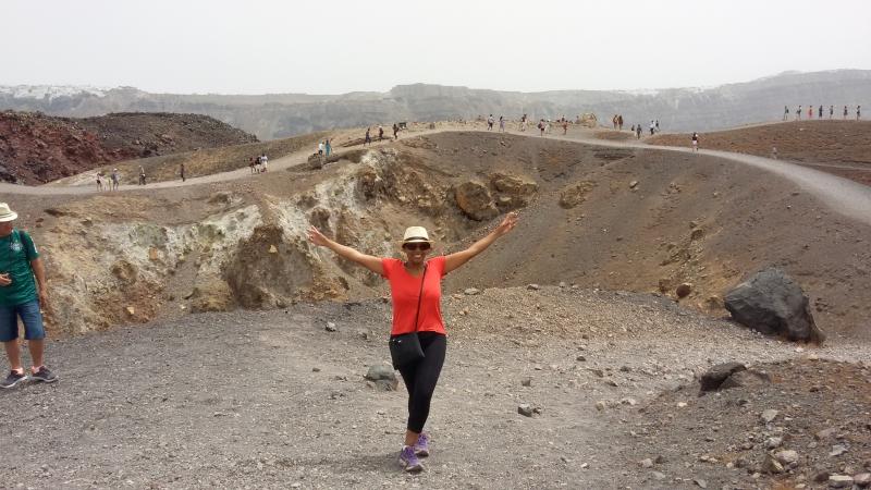 Santorini: Cratera do vulcão. Foto: arquivo pessoal