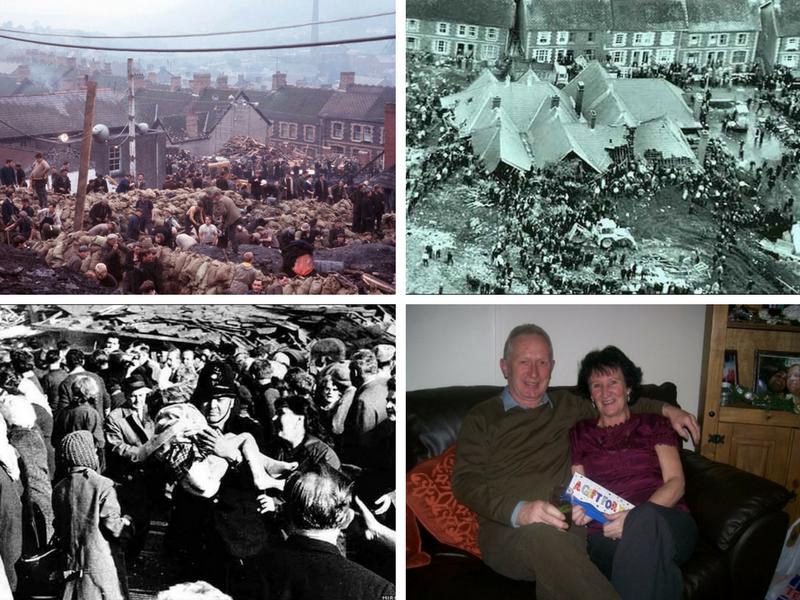 """Da esquerda para a direita: Moradores e equipes de resgate escavam a procura de sobreviventes (foto: Rolls Press/Popperfoto/Popperfoto/Getty Images); a escola Pantglass """"engolida"""" pelos detritos do aterro (foto: BBC.co.uk); resgate de sobrevivente (foto: BBC.co.uk); colaboradores/entrevistados: Keith e Maureen Arthur (foto de arquivo pessoal)"""