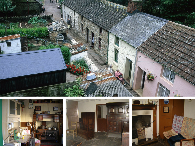 Fotos: maior, fileira de casas - St Fagans website; fotos menores, interior das casas - arquivo pessoal