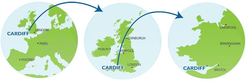 (Fonte: http://www.visitcardiff.com) 12 3 Cardiff em relação à Europa (1), ao Reino Unido (2) e a Bristol, Birmingham e Liverpool,na Inglaterra (3)
