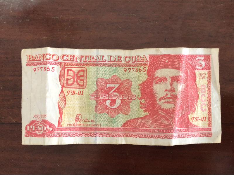 Dinheiro em peso cubano com a figura do Che. Raridade encontrar. Todo turista deseja ter!