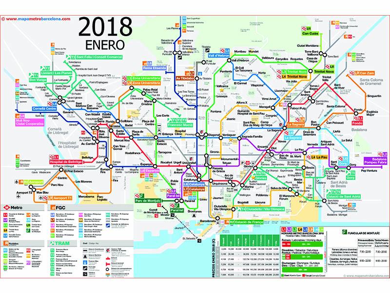mapa integraçao trens e metro Barcelona