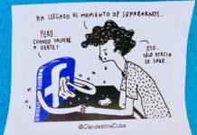 É uma liustração feita pela marca de roupa cubana, Clandestina, que descreve com bom humor os dilemas pra se conectar à internet em Cuba.